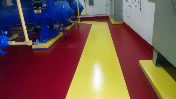 epoxy floor painting and line striping